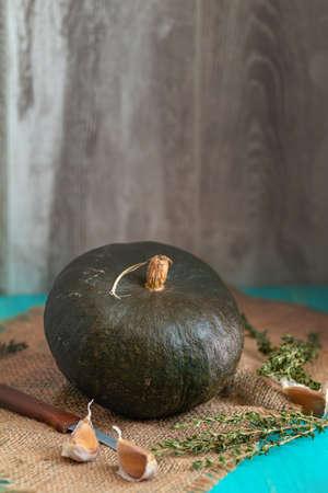 Green Pumpkin, ingredients for tasty vegetarian cooking on light wooden surface, food art background