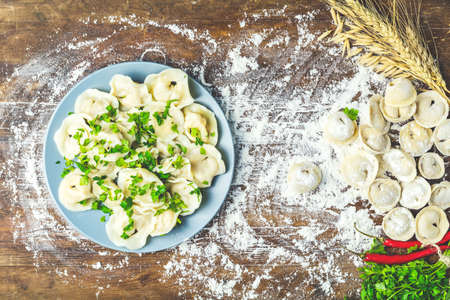 Tasty homemade meat dumplings or traditional italian ravioli of wholemeal flour sprinkled with fresh parsley on plate and raw ravioli on dark wooden table surface, copy space, view from above. Stock Photo