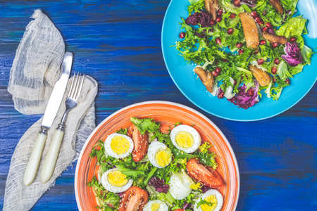 Concept of healthy delicious salads, grilled chicken, lettuce, quail eggs, cherry tomatoes, sesame, lettuce and pomegranate, top view, orange and blue plates, dark blue wooden table surface.