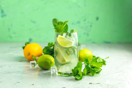Mojito cocktail with lime and mint in highball glass on a gray and green concrete stone surface background. With copy space for your text