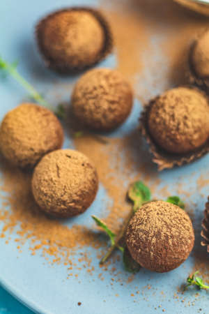 Cocoa balls, handmade chocolate balls cakes in a blue tray, sprinkled with cocoa powder, fresh mint and thyme on dark blue concrete surface background. Stock Photo