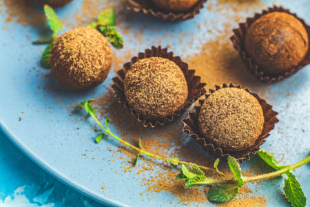 Cocoa balls, handmade chocolate balls cakes in a blue tray, sprinkled with cocoa powder, fresh mint and thyme on dark blue concrete surface background. Close up, copy space, shallow depth of the field Stock Photo