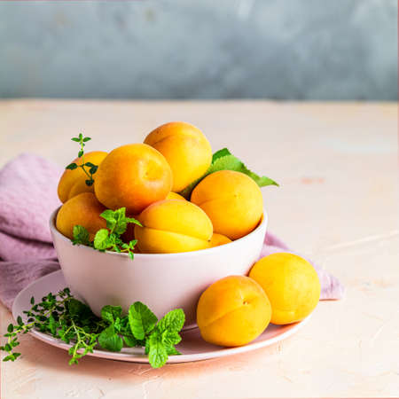 Fresh sweet orange apricots in pink bowl on the pink concrete surface table, selective focus, shallow depth of the fields