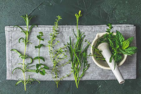 Mortar with  herbs and spices. Fresh herbs selection included rosemary, thyme, mint, lemon balm, parsley and arugula. Overhead view, copy space. Stock Photo - 128302525