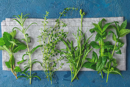 Herbs and spices.Fresh herbs selection included rosemary, thyme, mint, lemon balm and arugula. Overhead view, copy space. Dark blue surface Stock Photo - 128302874