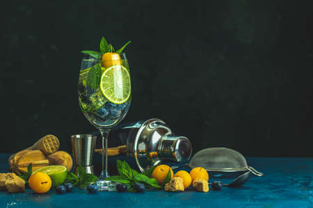 Summer alcoholic cocktail blueberry mojito with rum, mint, lime and ice, yellow cherry plums, bar tools, dark background, selective focus, copy space Stock Photo - 129770222
