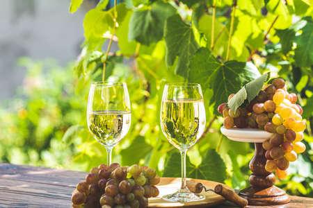 Uva y vino blanco. Uva verde y vino blanco en viñedo. Jardín soleado con fondo de viñedo, concepto de humor de verano, enfoque selectivo