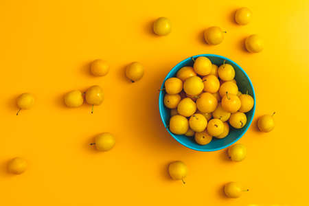 Creative summer pattern made of fresh yellow cherry plums in blue bowl on pastel yellow background. Fruit minimal concept. Flat lay.