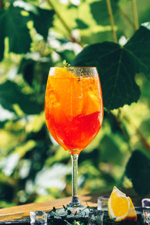 cocktail in big wine glass close up with oranges, summer Italian fresh alcohol cold drink. Sunny garden with vineyard background, summer mood concept, selective focus