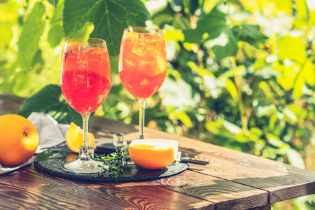 Two Aperol spritz cocktail in big wine glass with oranges, summer Italian fresh alcohol cold drink. Sunny garden with vineyard background  Zdjęcie Seryjne