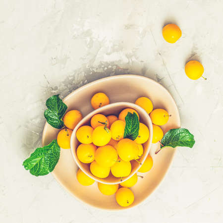 Creative summer pattern made of fresh yellow cherry plums in pink bowl on gray concrete background. Fruit minimal concept. Flat lay.