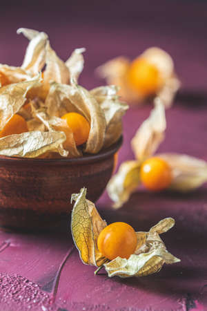 Fresh juicy group organic cape gooseberry in clay dish on dark claret bordeaux concrete surface. Physalis peruviana, Inca berry, poha berries, husk tomatoes. Ripe berries of autumn physalis fruit 写真素材 - 133190617