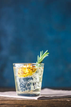 Charred Lemon, Rosemary and Coriander Gin and Tonic is a flavors are perfectly balanced refreshing cocktail. on dark background, close up. Summer drinks and alcoholic or detox cocktail Stock Photo - 139059920