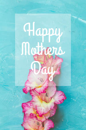 Happy Mothers Day phrase in the frame. Border frame made of pink gladiolus on blue concrete background. Pattern of gladiolus with space for your text, holiday g