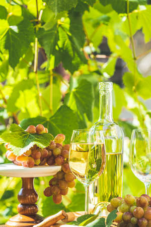 Grape and white wine. Green grape and white wine in vineyard. Bunch of grapes with water drops on the table. Sunny garden with vineyard background. Stock Photo - 142257537