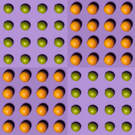 Orange and lime pattern on violet background. Creative food concept. Flat lay. Stock Photo - 142257699