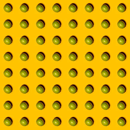 Limes pattern on yellow background. Creative food concept. Flat lay. Stock Photo - 142257700