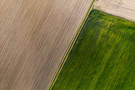 Crop and agriculture concept, top view drone flying over field countryside at sunny cloudy spring time. Wonderful aerial video for ecological concept, fla lay