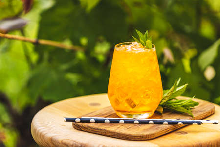 Orange fresh drink with ice on summer sunny garden background. Fresh cocktail drinks with ice fruit and herb decoration. Stock Photo