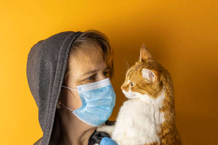 Female in a medical mask and hood looking at red white cat on a yellow background. Health protection during flu virus outbreak, coronavirus epidemic infectious diseases and allergy to animal fur