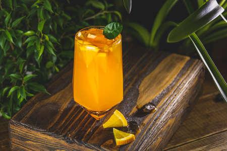 Citrus cocktail, orange juice, summer orange lemonade in highball glass surrounded decor in dark fresh tropic style, backlight, close up, shallow depth of the field. Stock Photo - 166705402