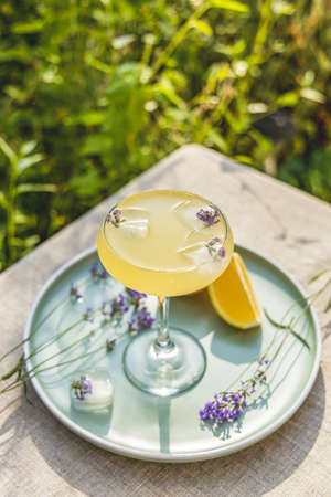 Pompadour glass of lavender lemonade with cube ice with lavender flowers. Table in summer garden.