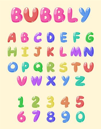 bubbly font Vector Illustratie