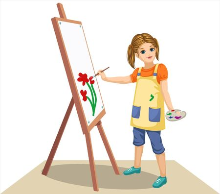 a little girl is painting