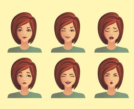 facial expressions of a girl Ilustração