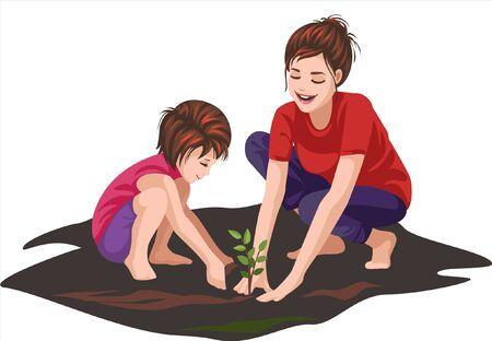 a girl is gardening with mother Ilustração