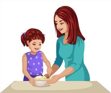 a girl is enjoying cooking with her mother