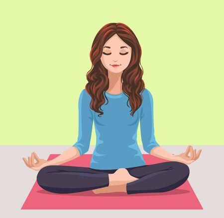 a young women meditating