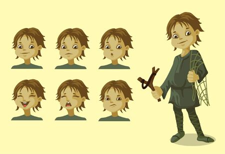 a cute little village boy with different expressions