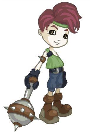 a little boy in viking costume Ilustração