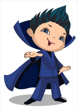 a cute little boy in a vampire dress Ilustração