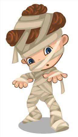 a cute little boy in mummy costume