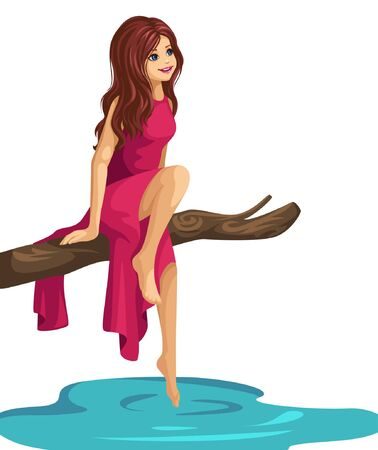 a beautiful girl is sitting on a branch