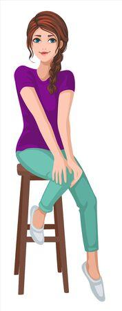 a girl is sitting on high stool Ilustração