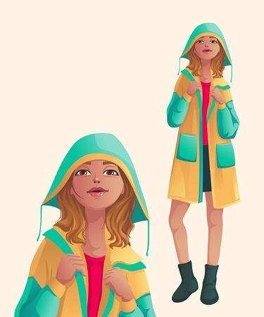 a girl in raincoat is posing