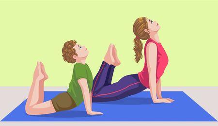 mother and son doing yoga Ilustração