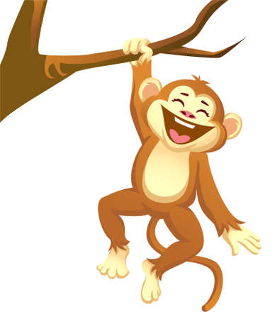 monkey playing on a tree Ilustração