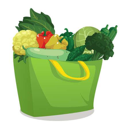 fresh vegetables in bag Ilustração