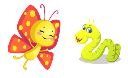 butterfly and worm cartoon Ilustração