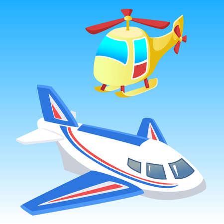 aeroplane and helicopter