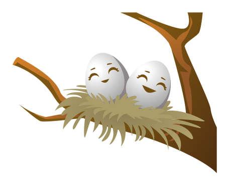 little eggs in the nest Banco de Imagens - 152701834