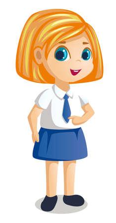 a little girl in school uniform