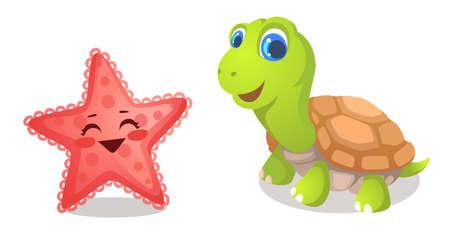tortoise and starfish vector illustration Ilustração