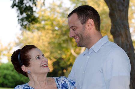 cherishing: Cherishing mother son bond. Stock Photo