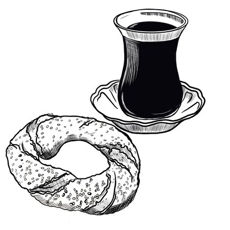 Illustration of turkish bagel and tea on a white background