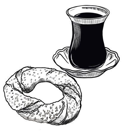 Illustration of turkish bagel and tea on a white background Zdjęcie Seryjne - 132530218
